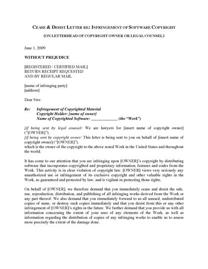 Picture of Cease and Desist Letter re Software Copyright | USA