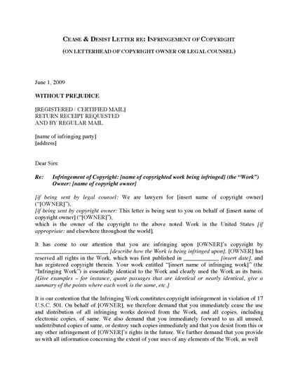 Picture of Cease and Desist Letter re Copyright Infringement | USA