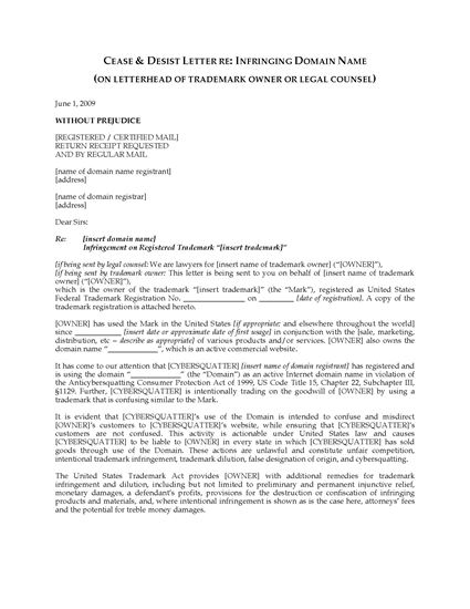 Picture of Cease and Desist Letter re Infringing Domain Name (USA)
