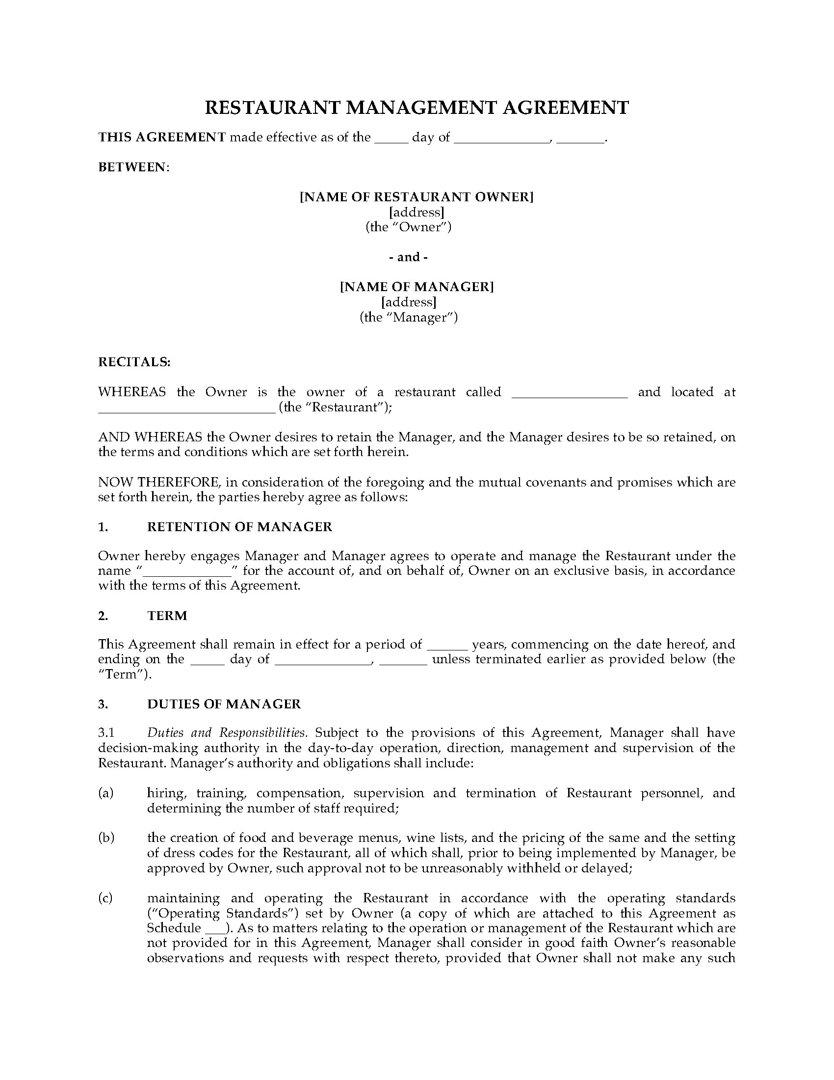 Restaurant management agreement legal forms and business templates picture of restaurant management agreement picture of restaurant management agreement platinumwayz