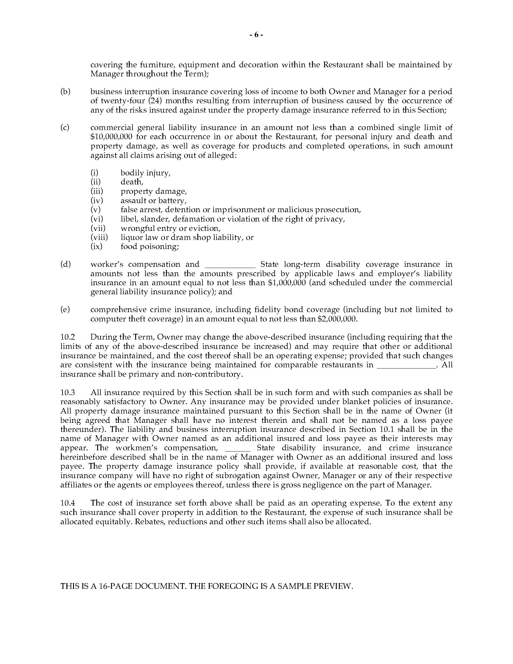 Restaurant management agreement legal forms and business templates picture of restaurant management agreement platinumwayz