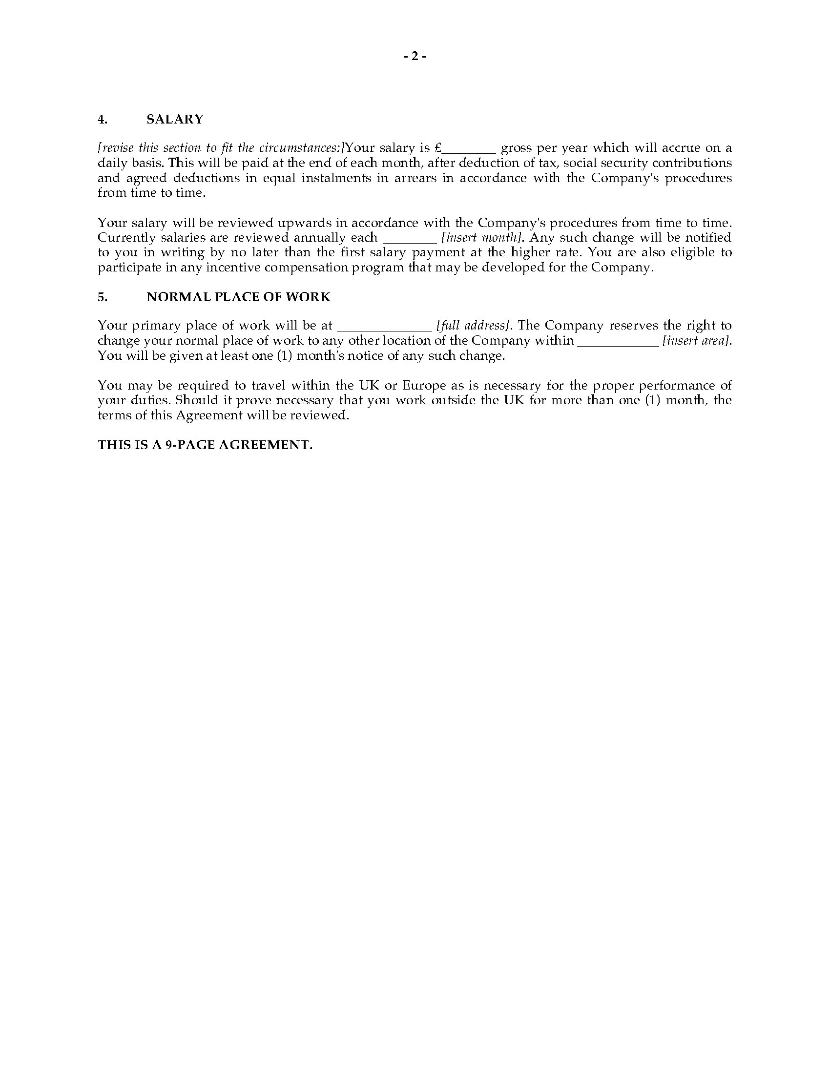 uk employment contract form
