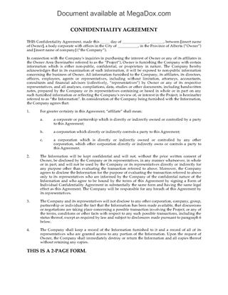 Picture of Alberta Confidentiality Agreement for Purchase of Oil and Gas Assets