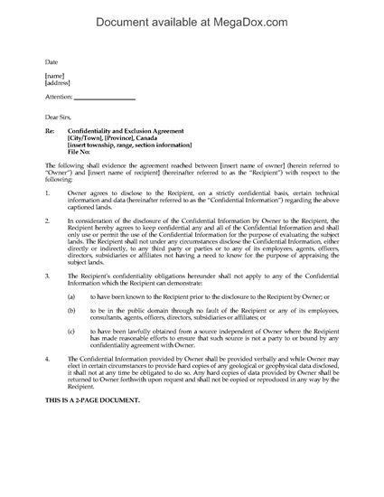 Picture of Alberta Confidentiality and Exclusion Agreement for Sale of Oil and Gas Assets