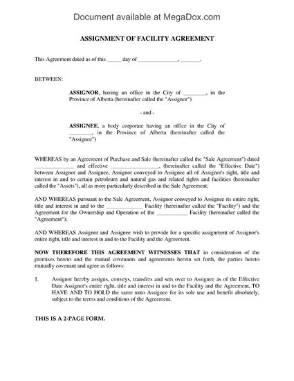 Picture of Alberta Assignment of Facility Agreement