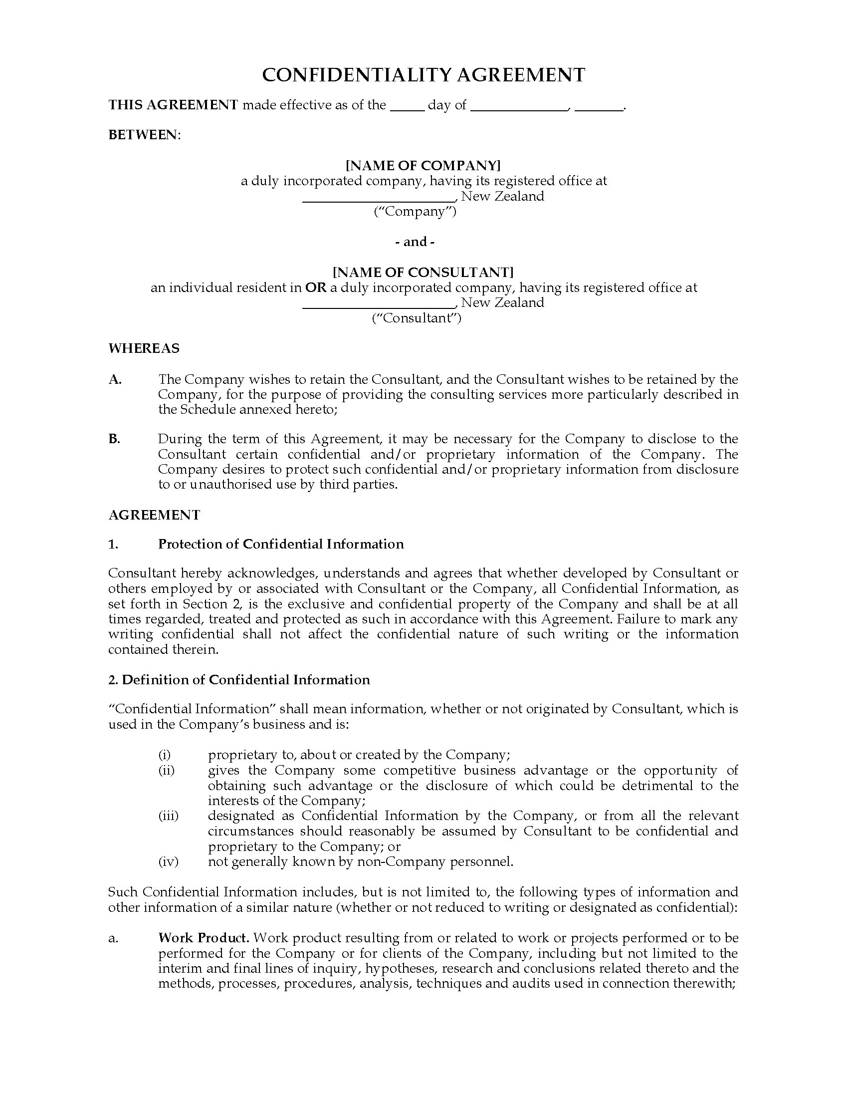 Confidentiality Agreement For Outside Consultants Legal Forms And