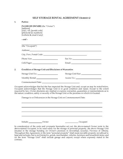Picture of Alberta Self Storage Rental Agreement