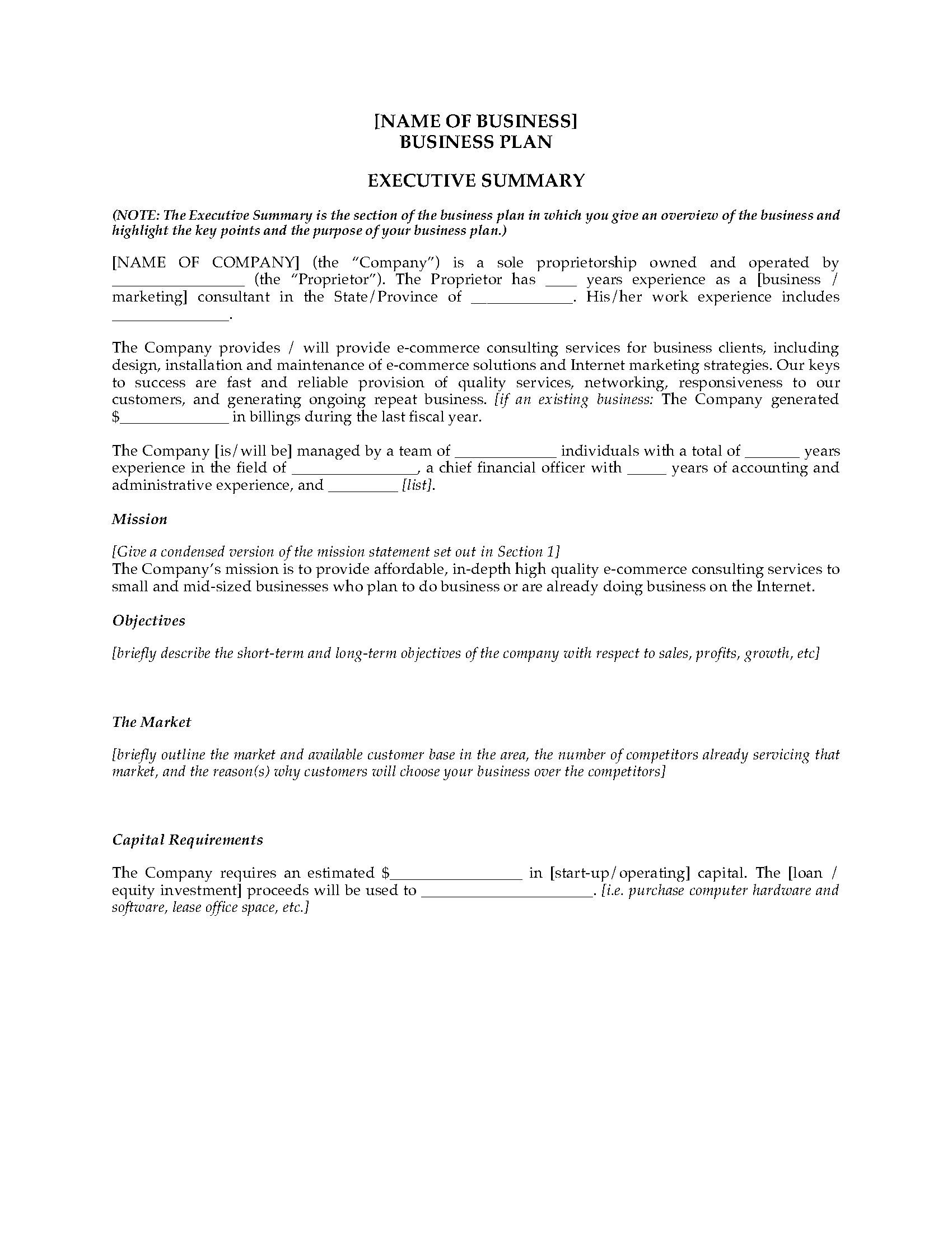 business plan template for consulting firm - e commerce consultant business plan legal forms and