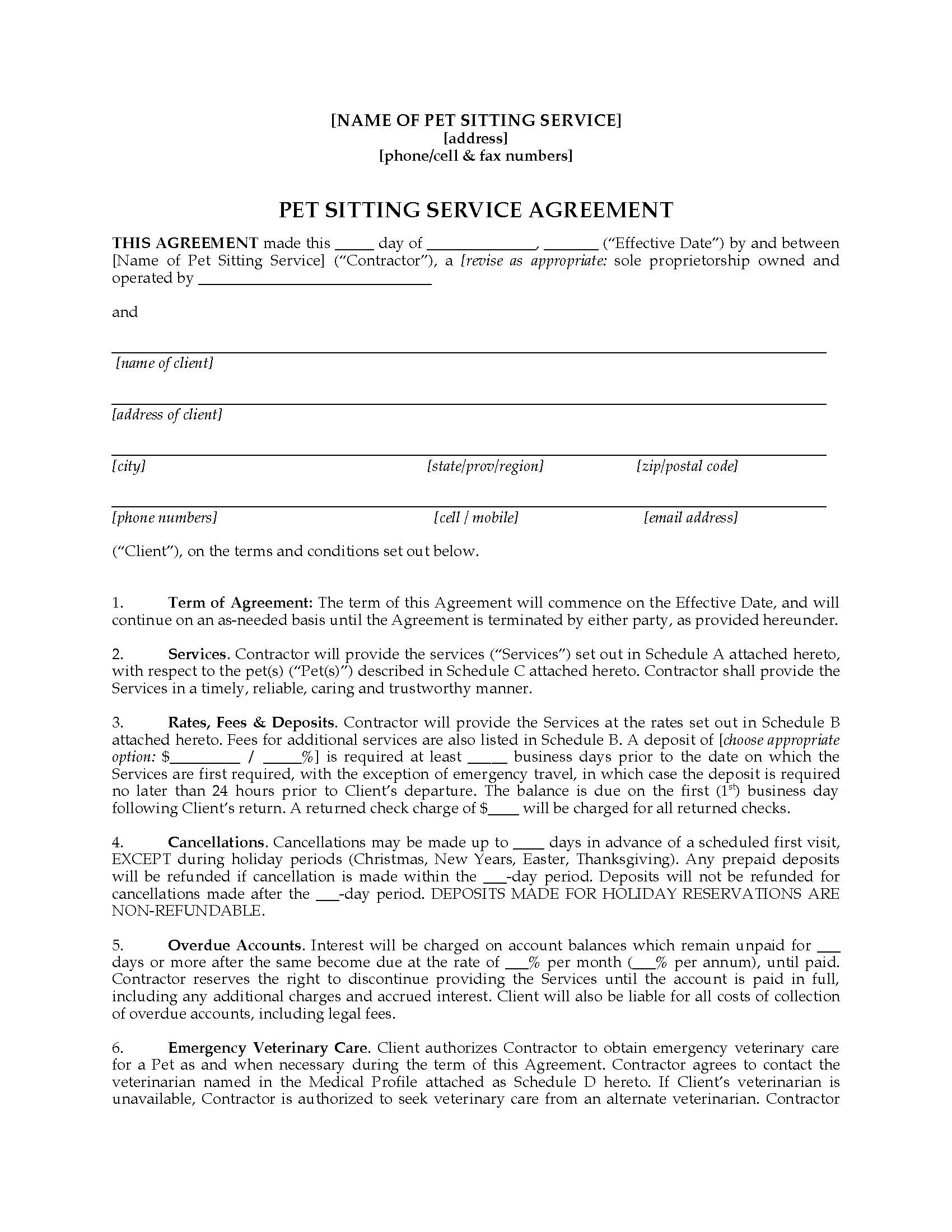 pet sitter contract forms package legal forms and business