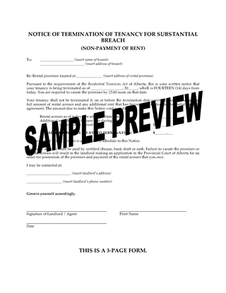 Picture of Alberta Notice of Termination of Tenancy for Nonpayment of Rent