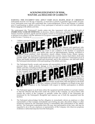 Picture of Waiver and Release for Fitness Program | Canada