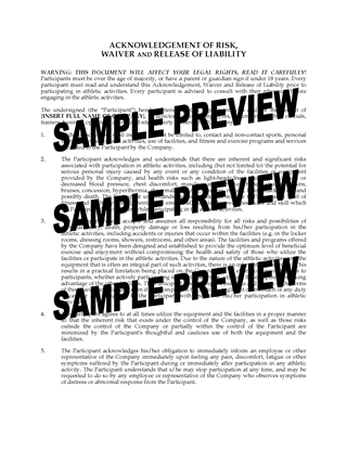 Picture of Fitness Program Waiver and Release | USA
