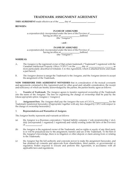 Picture of Trade Mark Assignment Agreement | Canada