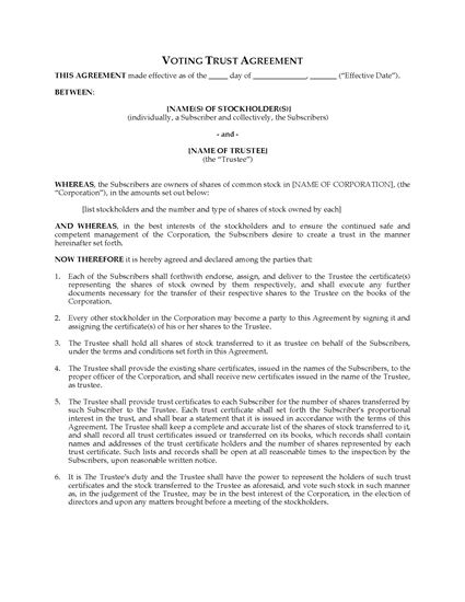 Picture of USA Voting Trust Agreement for Shares