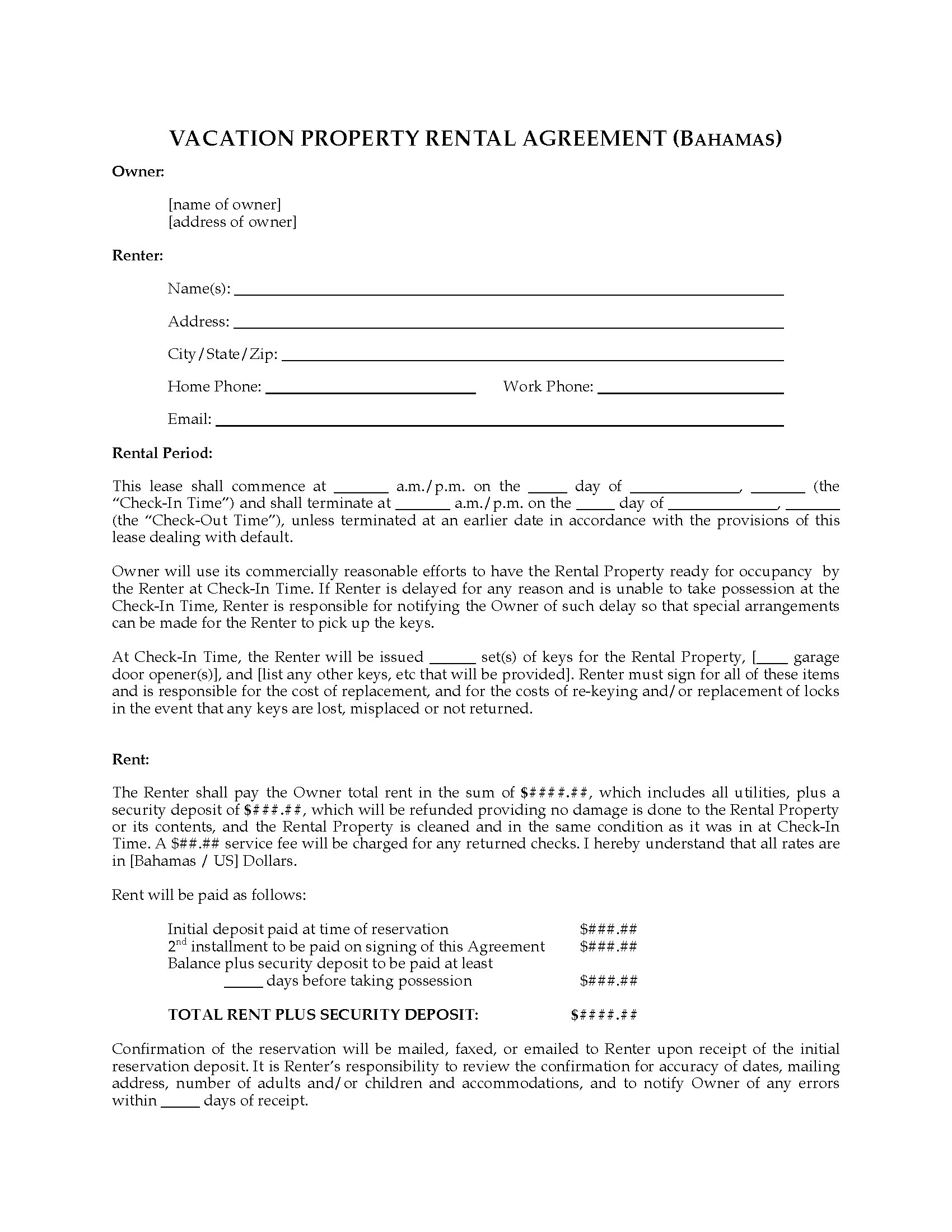 Bahamas Vacation Property Rental Agreement Legal Forms And