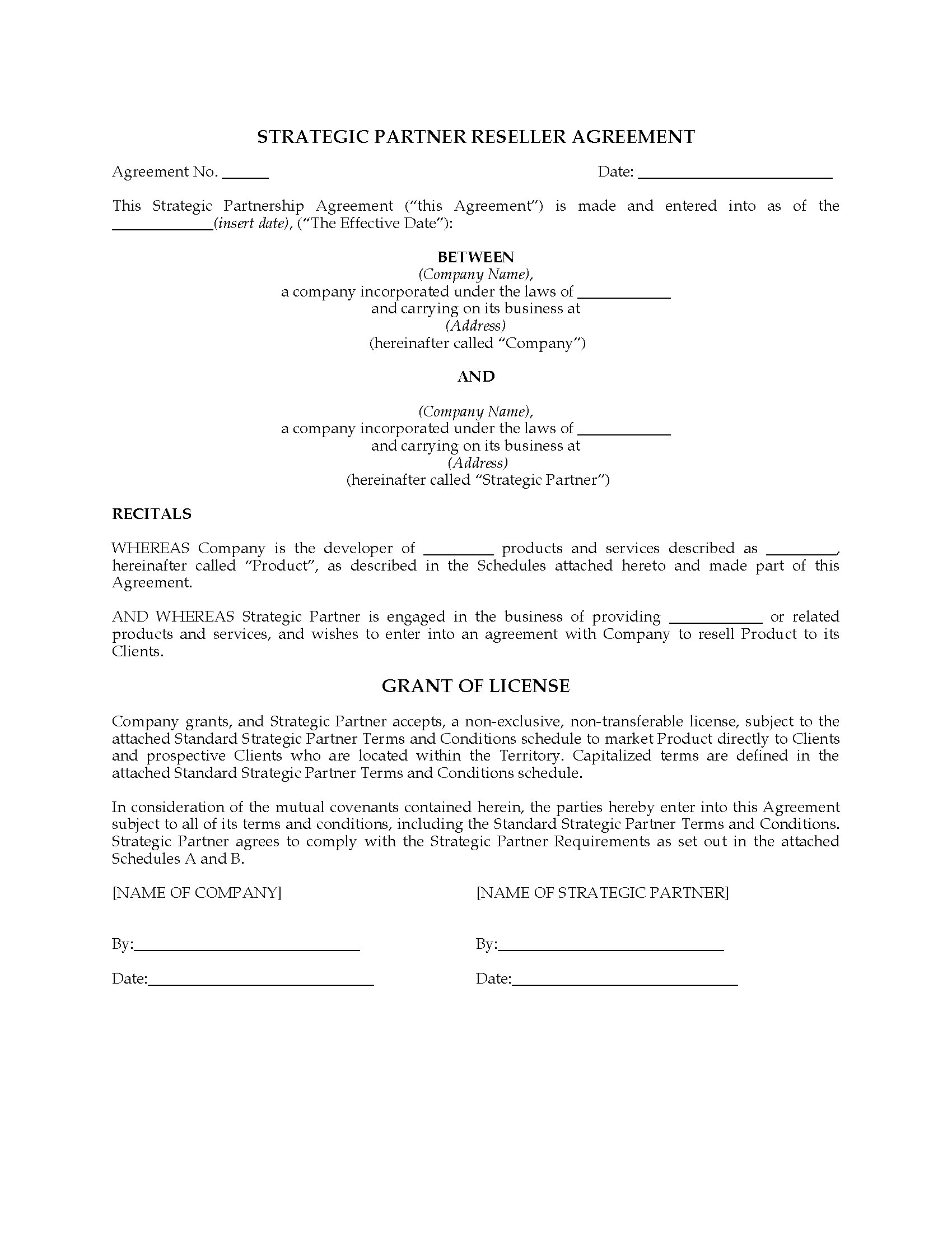 strategic partner reseller agreement legal forms and business templates. Black Bedroom Furniture Sets. Home Design Ideas