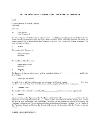 Picture of Canada Letter of Intent to Purchase Commercial Real Estate Property