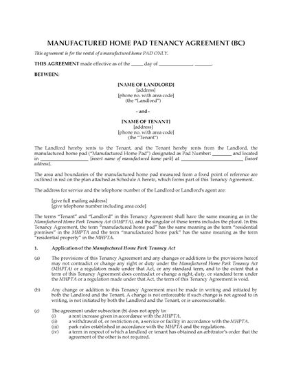 Picture of British Columbia Manufactured Home Pad Tenancy Agreement