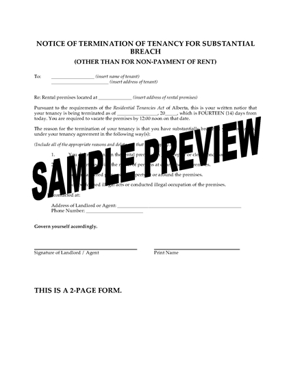 Picture of Alberta Notice of Termination of Tenancy for Substantial Breach