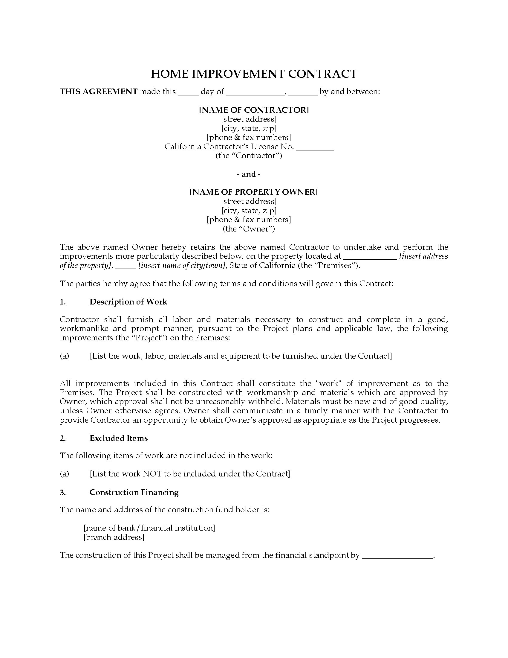 California home improvement contract legal forms and for Home construction contract tips