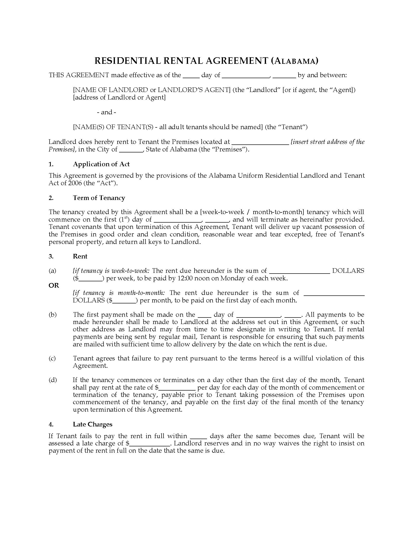 Alabama Rental Agreement For Residential Premises Legal Forms And