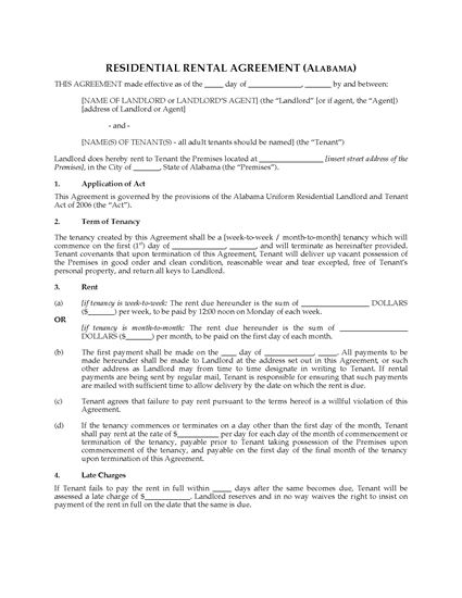 Picture of Alabama Rental Agreement for Residential Premises