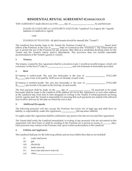Picture of Connecticut Rental Agreement for Residential Premises