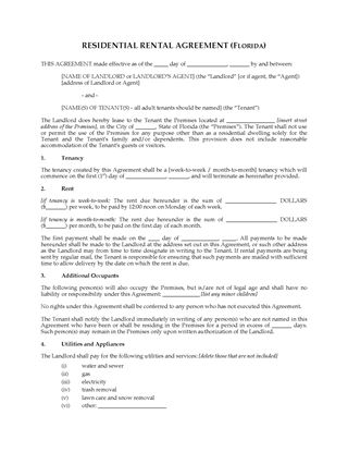 Picture of Florida Rental Agreement for Residential Premises