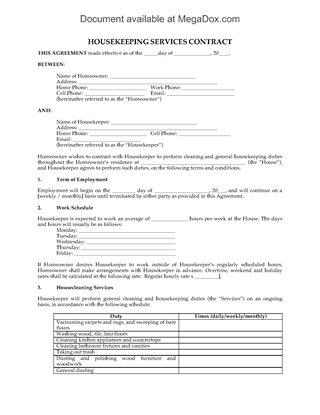 Picture of Housekeeping Services Contract