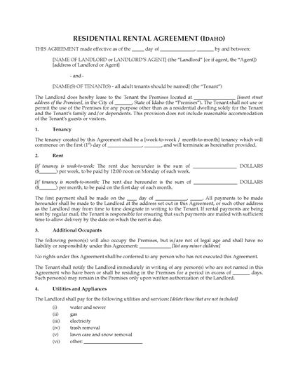 Picture of Idaho Rental Agreement for Residential Premises