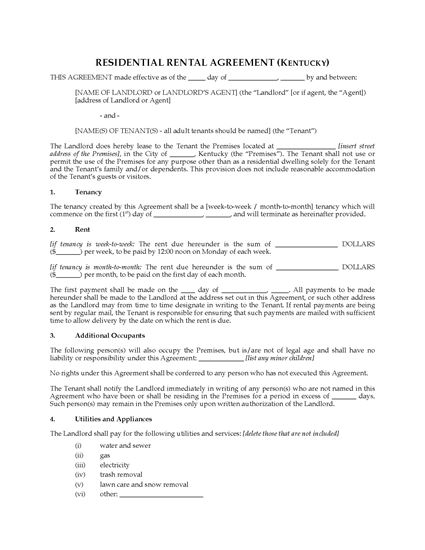 Kentucky Rental Agreement For Residential Premises