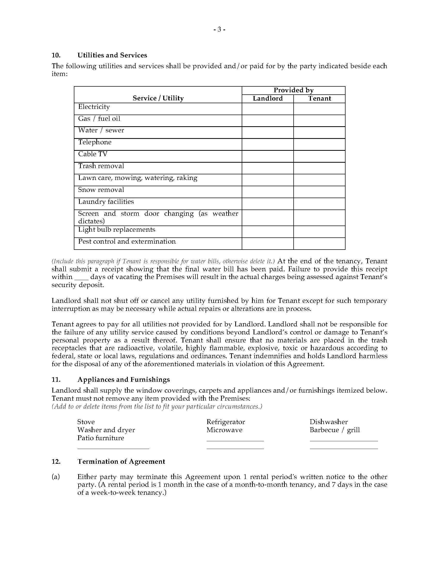 Michigan Rental Agreement Monthly Or Weekly