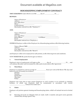 Picture of Housekeeping Employment Contract for Resort