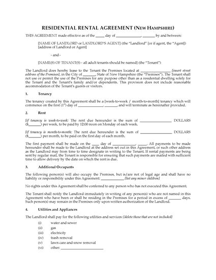 Picture of New Hampshire Rental Agreement for Residential Premises