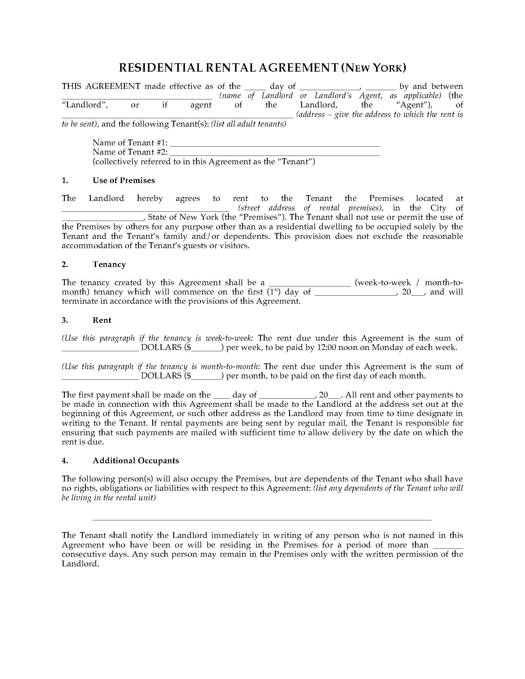 New York Rental Agreement For Residential Premises Legal Forms And