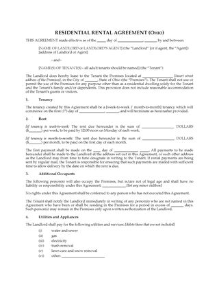 Picture of Ohio Rental Agreement for Residential Premises