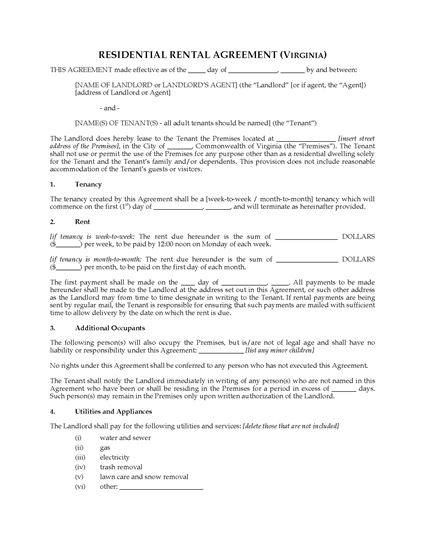 Picture of Virginia Rental Agreement for Residential Premises