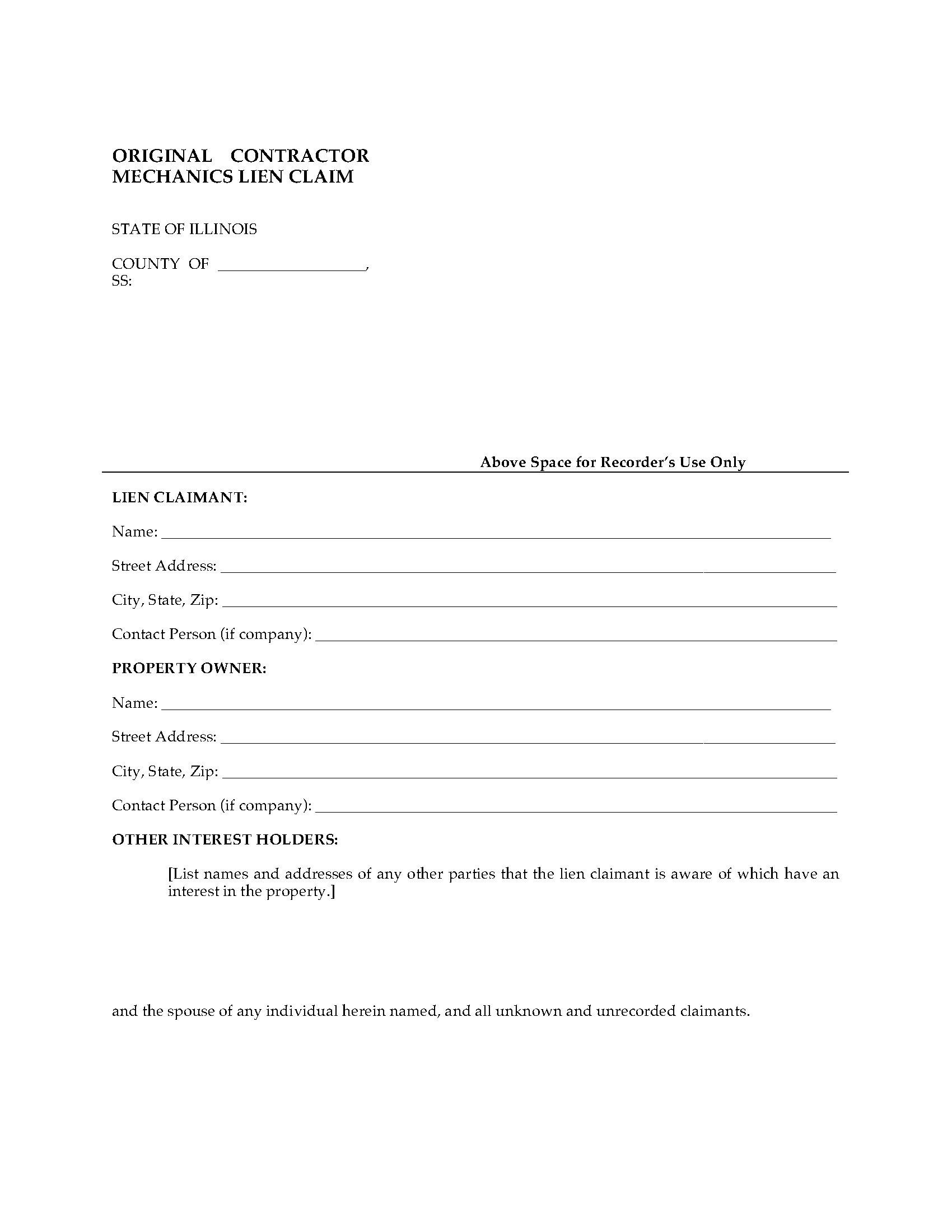 Illinois Original Contractor Mechanics Lien Claim | Legal Forms ...