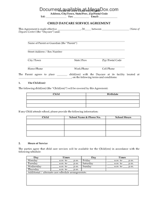Picture of Child Daycare Service Agreement