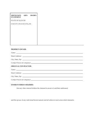 Illinois Lien Forms | Legal Forms And Business Templates | Megadox.Com