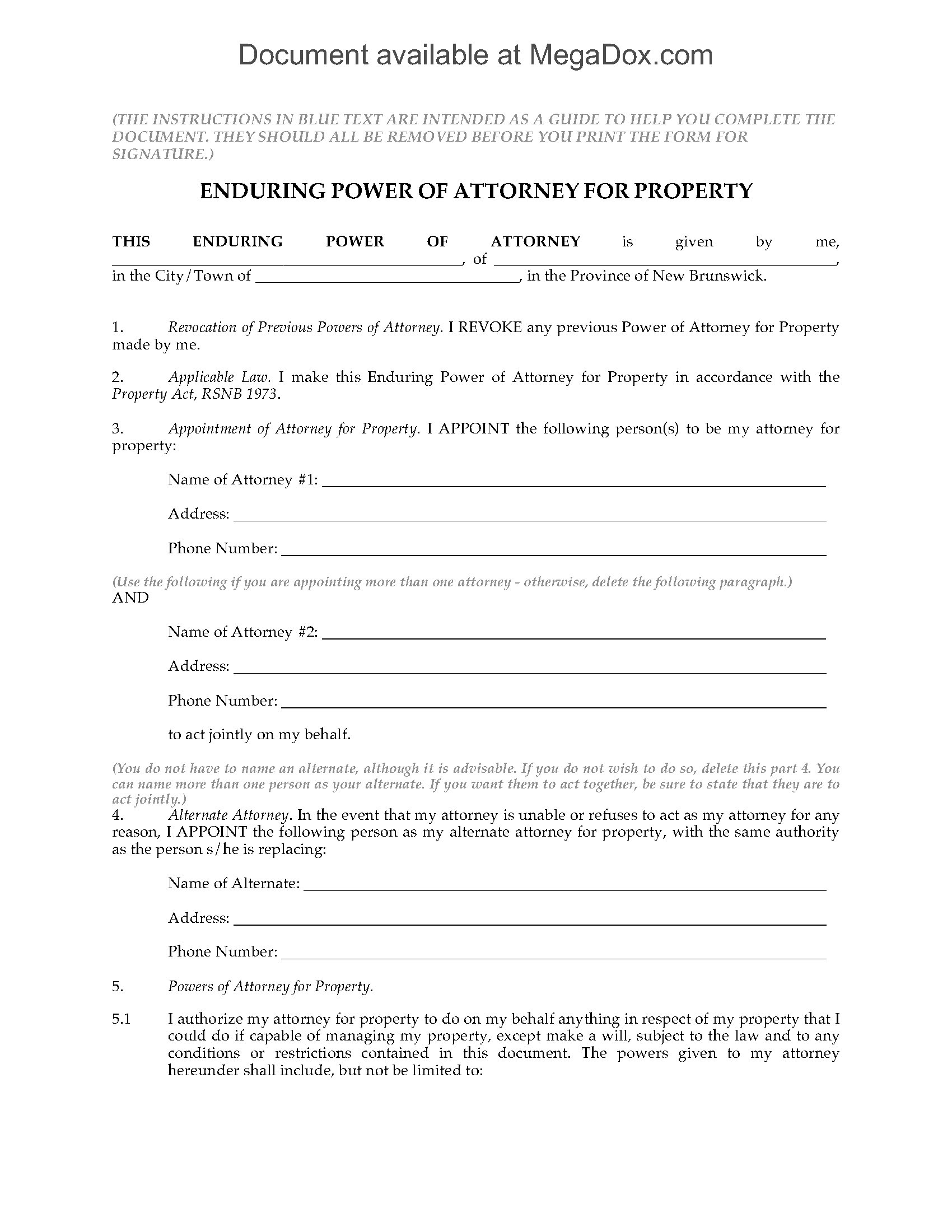 enduring power of attorney form  New Brunswick Enduring Power of Attorney for Property