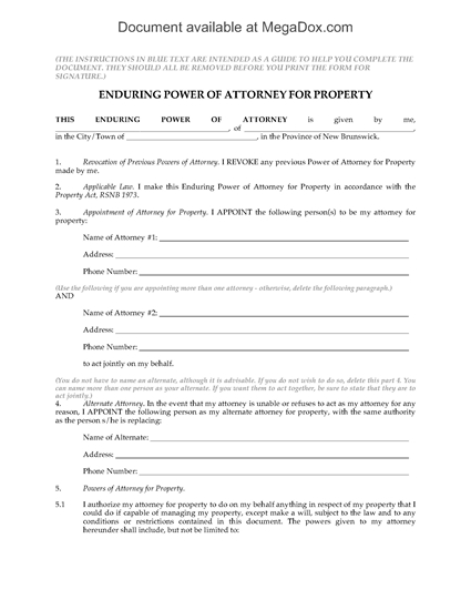 Picture of New Brunswick Enduring Power of Attorney for Property