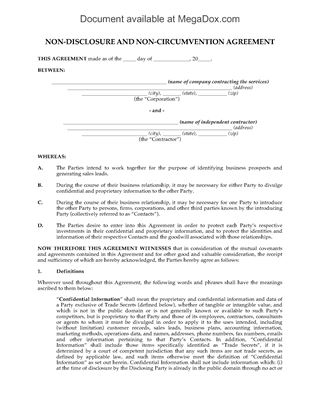 Picture of Nondisclosure and Noncircumvention Agreement for Sales Agents | USA
