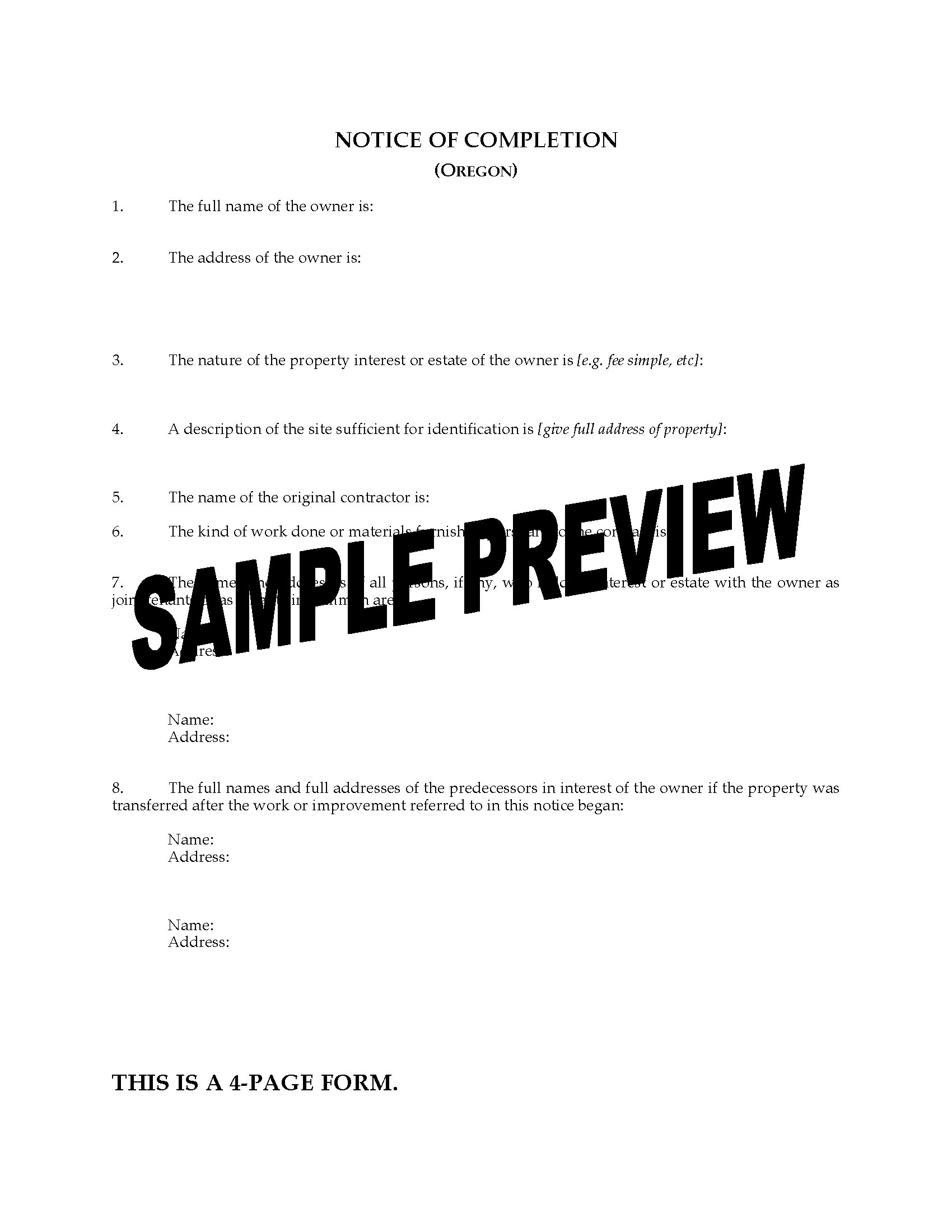 Nevada Revised Statutes >> Oregon Notice of Completion | Legal Forms and Business ...