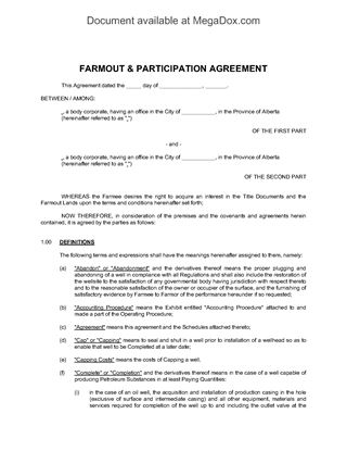 Picture of Alberta Farmout and Participation Agreement