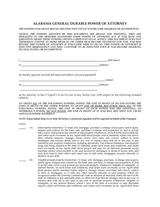 Picture of Alabama Immediate Power of Attorney