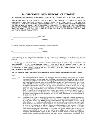 Picture of Hawaii Immediate Power of Attorney