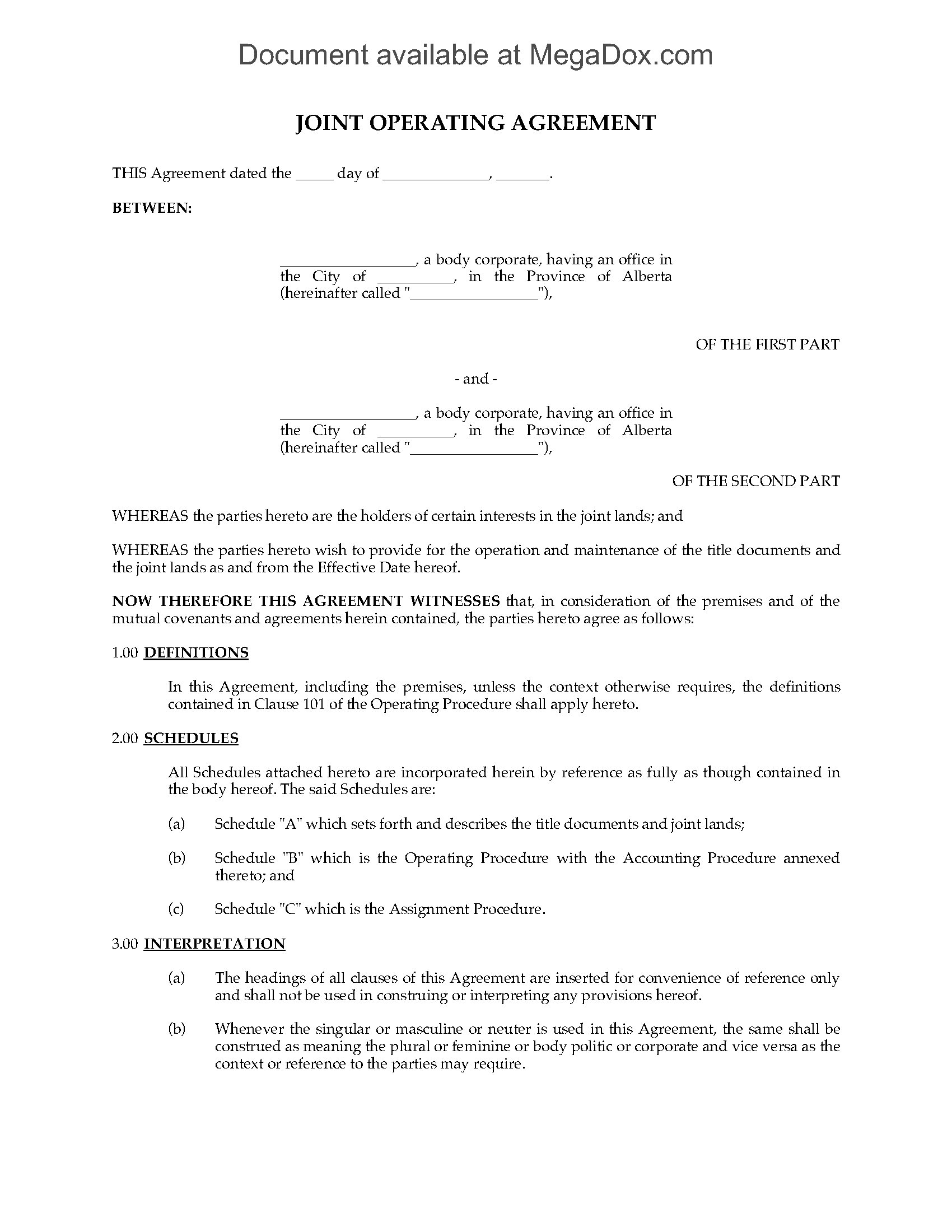 Alberta Joint Operating Agreement Legal Forms And Business