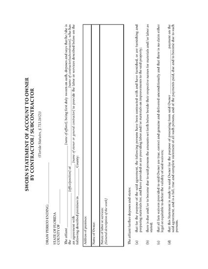 Picture of Florida Sworn Statement of Account by Contractor