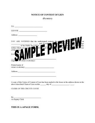 Picture of Florida Notice of Contest of Lien
